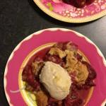 Strawberry crumble with banana ice cream