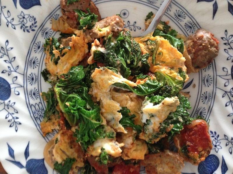 Kale & Meatball Scramble
