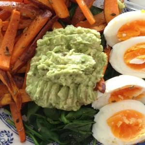 Guac on a speedy lunch of greens, sweet potato & eggs