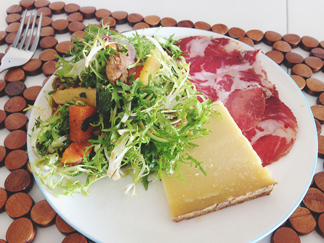 Salad raw cheese and capocollo