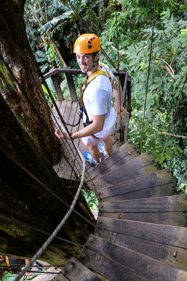 Mick on the staircase | When in Chiang Mai: Elephants & Ziplining | lizniland.com